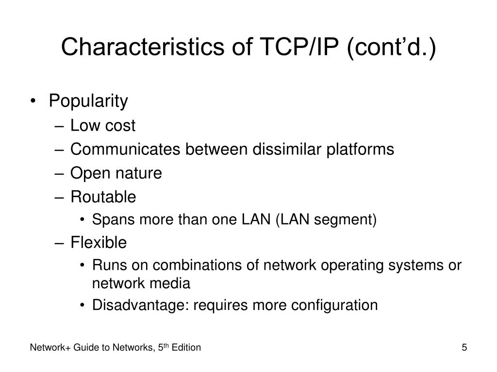 Characteristics of TCP/IP (cont'd.)