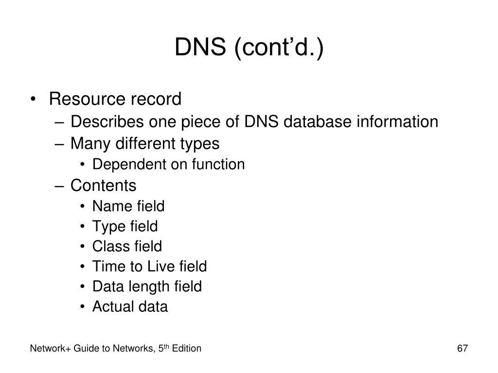 DNS (cont'd.)