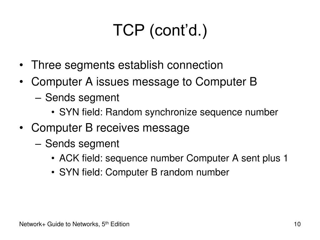 TCP (cont'd.)