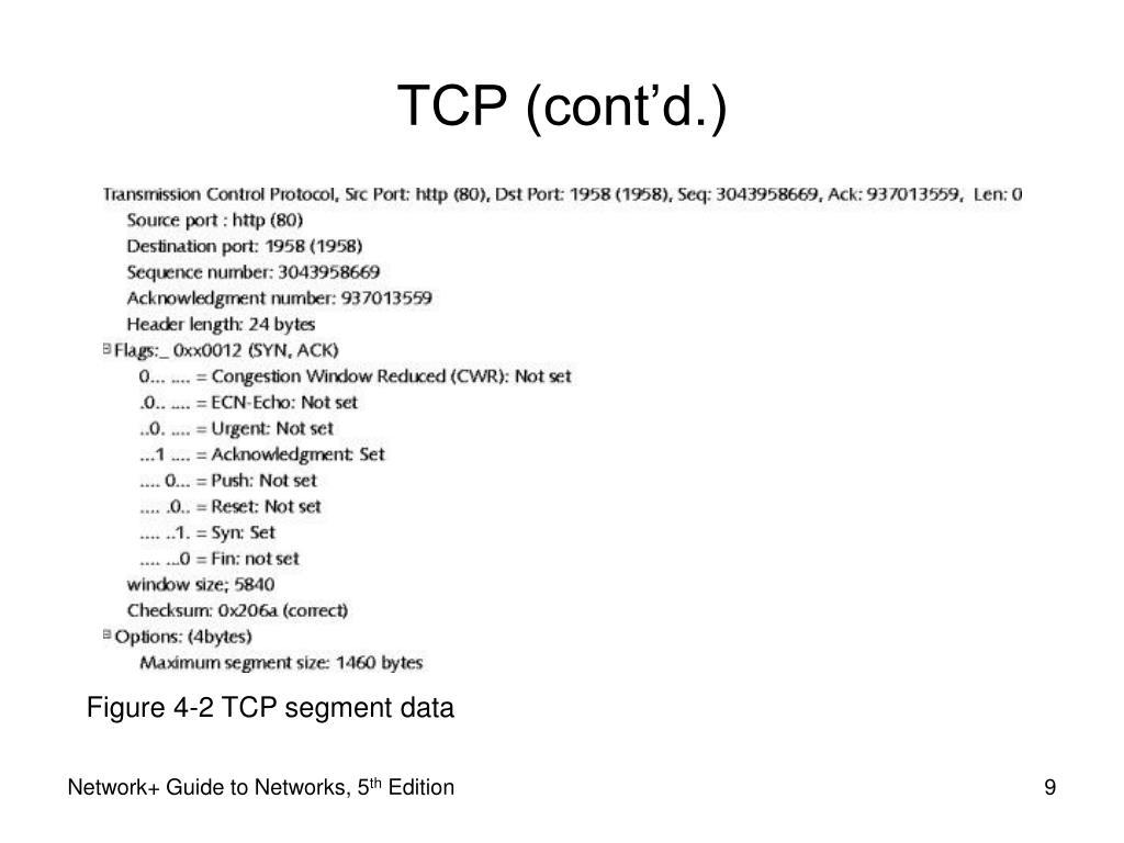 Figure 4-2 TCP segment data