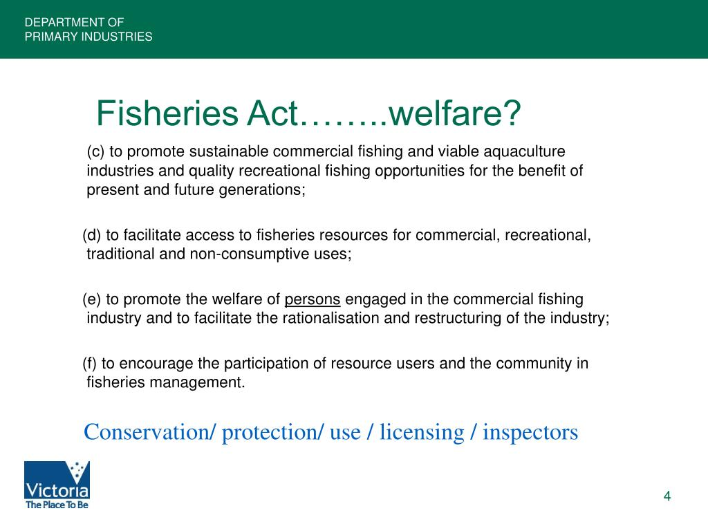 Fisheries Act……..welfare?
