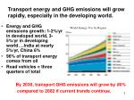 transport energy and ghg emissions will grow rapidly especially in the developing world