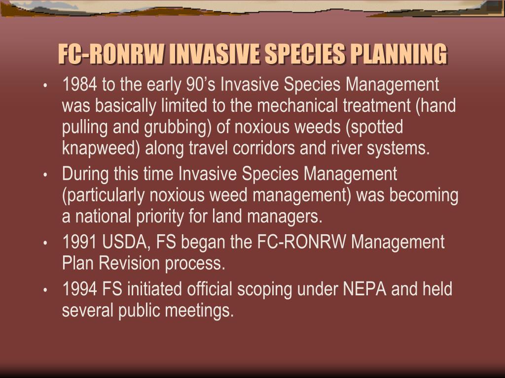 FC-RONRW INVASIVE SPECIES PLANNING