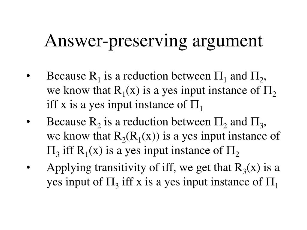 Answer-preserving argument