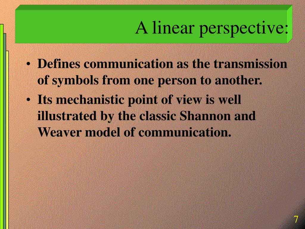 A linear perspective:
