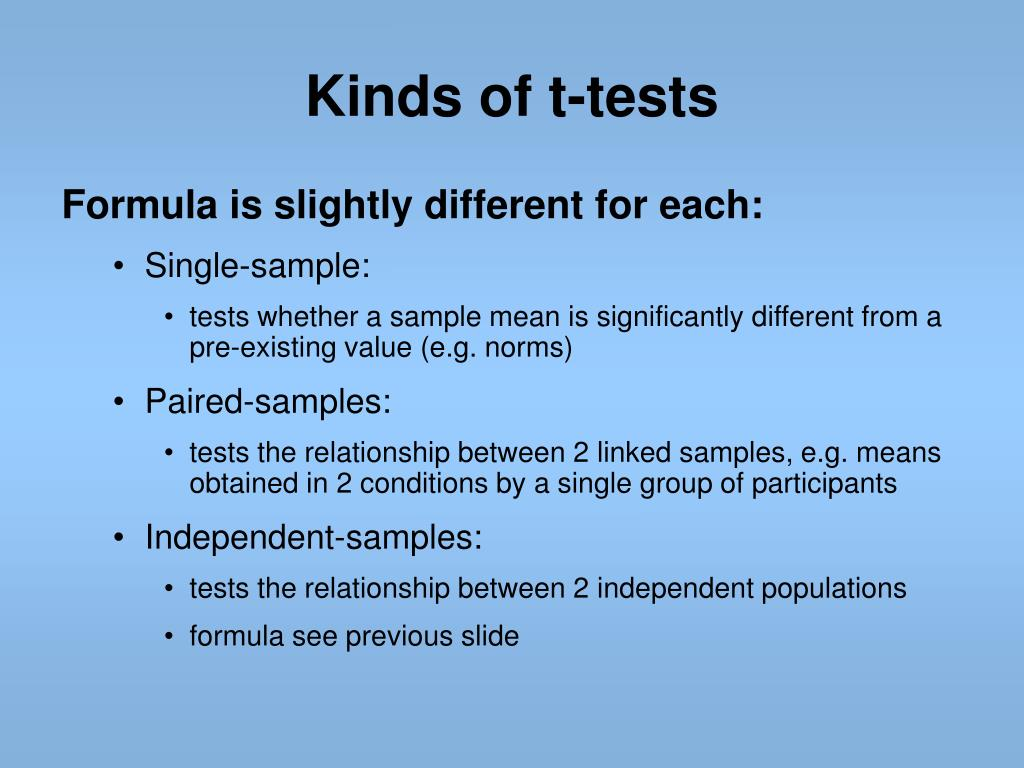 Kinds of t-tests