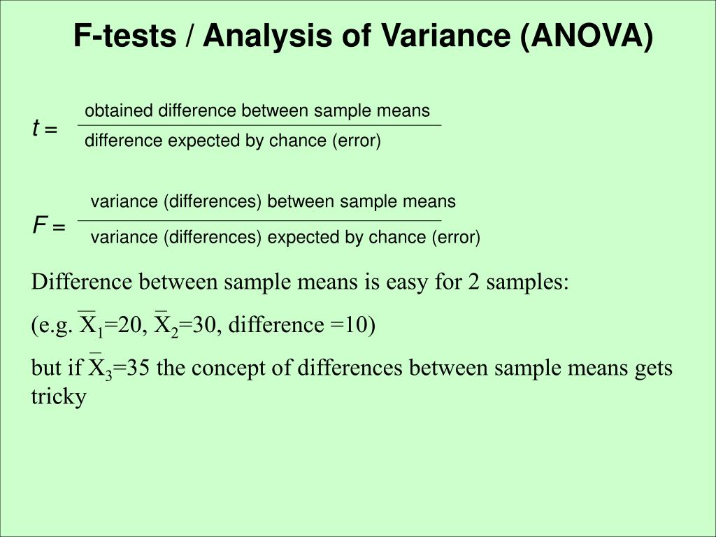 F-tests / Analysis of Variance (ANOVA)