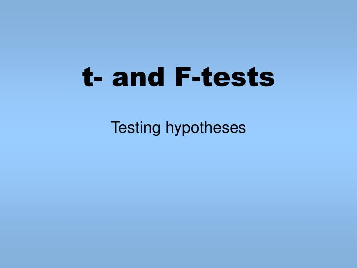 t and f tests n.