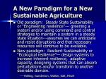 a new paradigm for a new sustainable agriculture