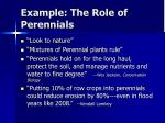 example the role of perennials