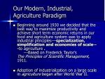 our modern industrial agriculture paradigm