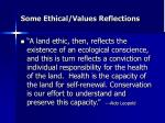 some ethical values reflections