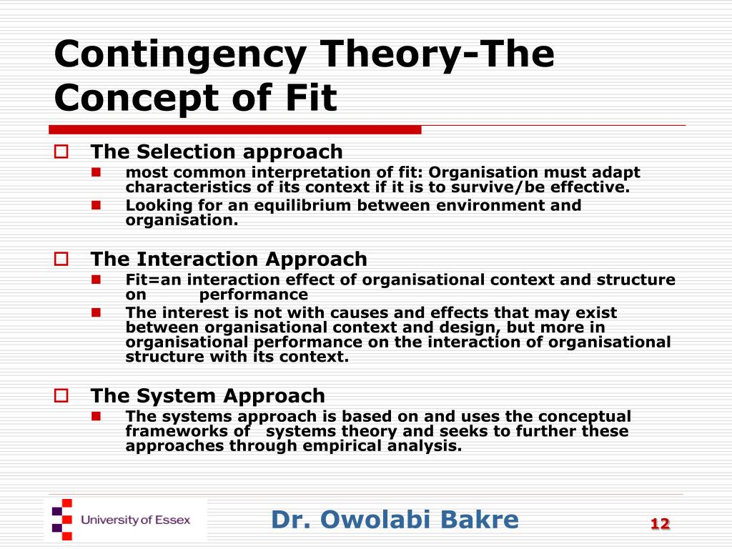 Contingency Theory-The Concept of Fit
