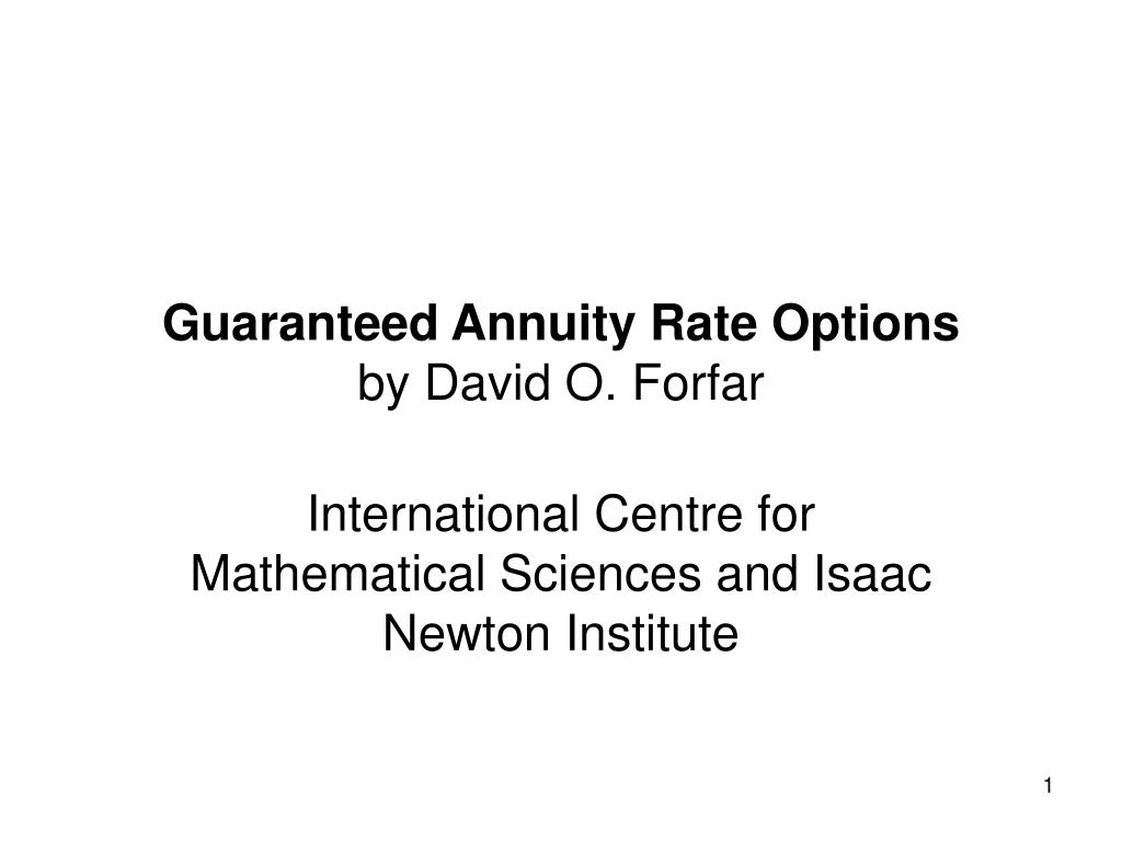 Guaranteed Annuity Rate Options