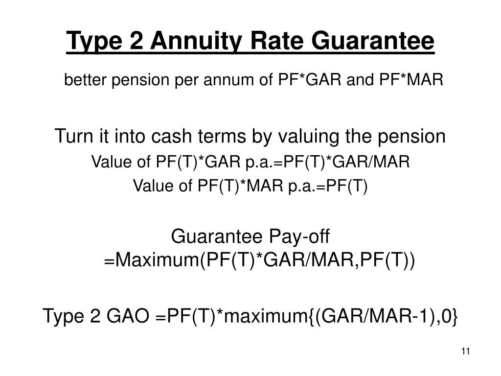 Type 2 Annuity Rate Guarantee
