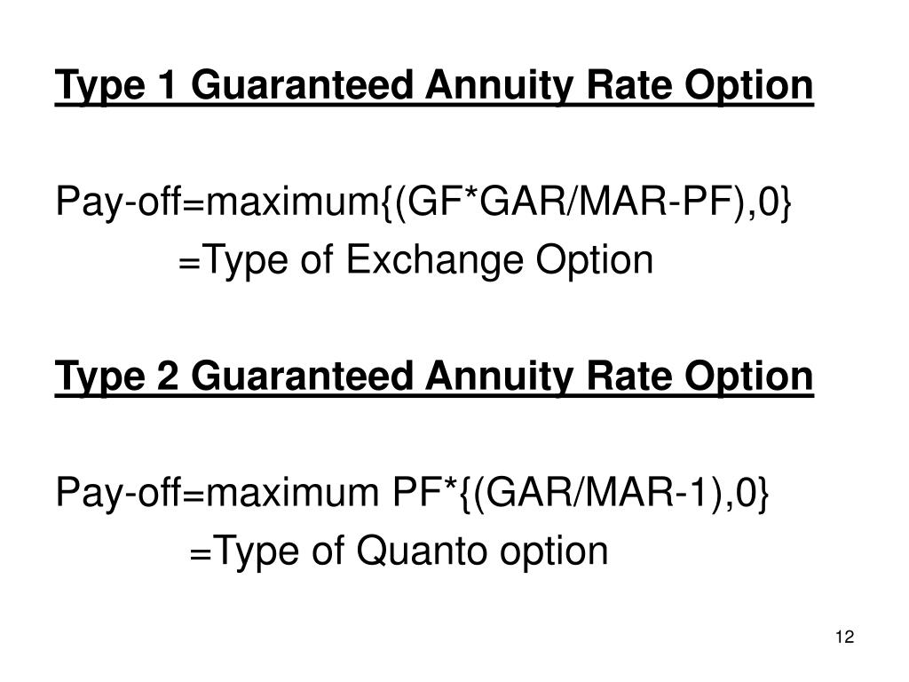 Type 1 Guaranteed Annuity Rate Option