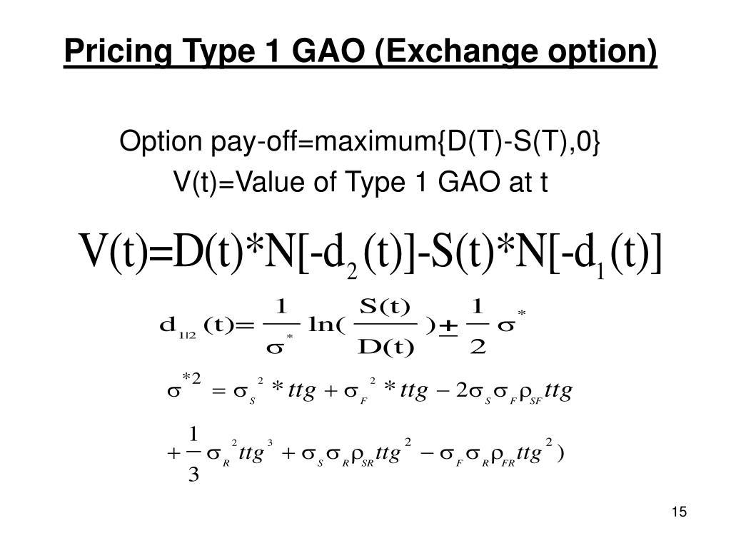 Pricing Type 1 GAO (Exchange option)