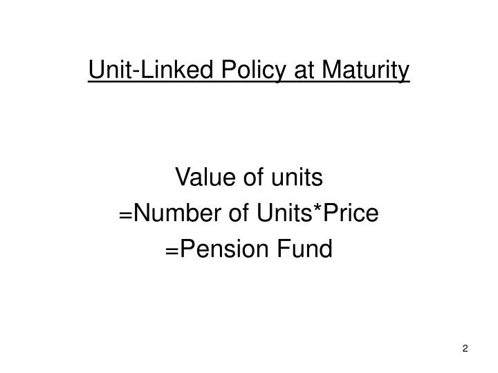 Unit-Linked Policy at Maturity