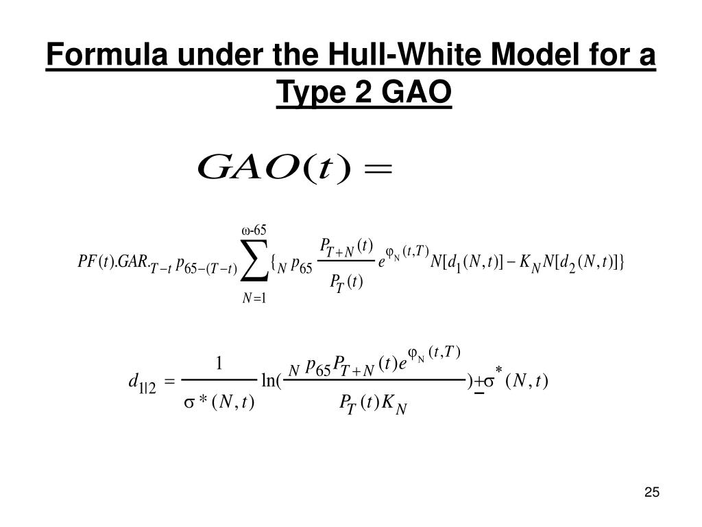 Formula under the Hull-White Model for a Type 2 GAO