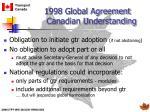 1998 global agreement canadian understanding