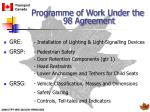 programme of work under the 98 agreement16