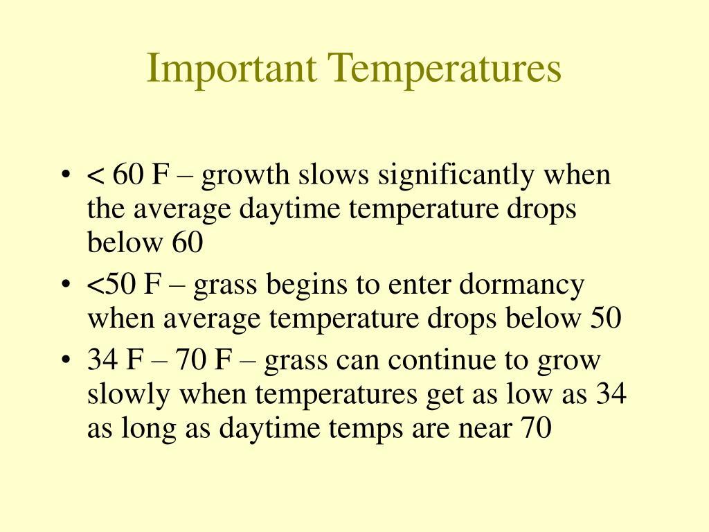 Important Temperatures