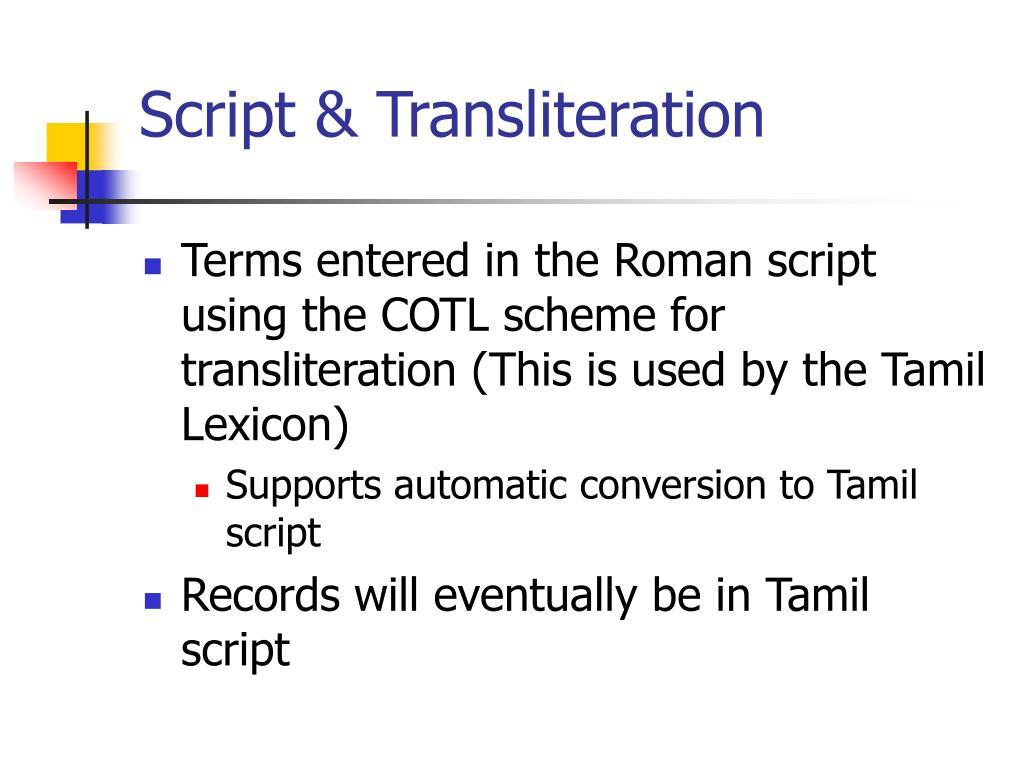 Script & Transliteration