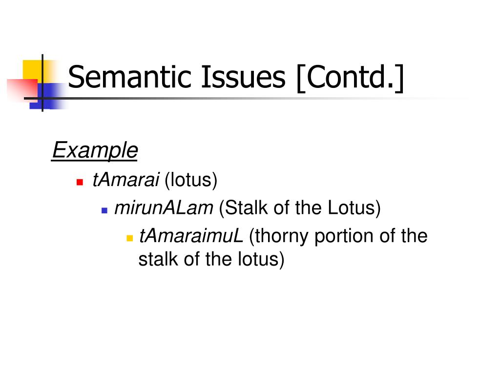 Semantic Issues [Contd.]