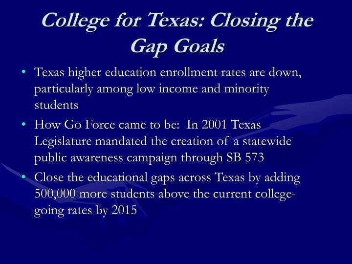 College for texas closing the gap goals