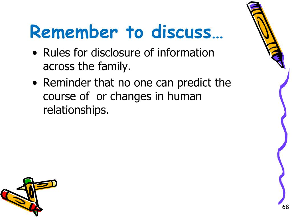 Remember to discuss…