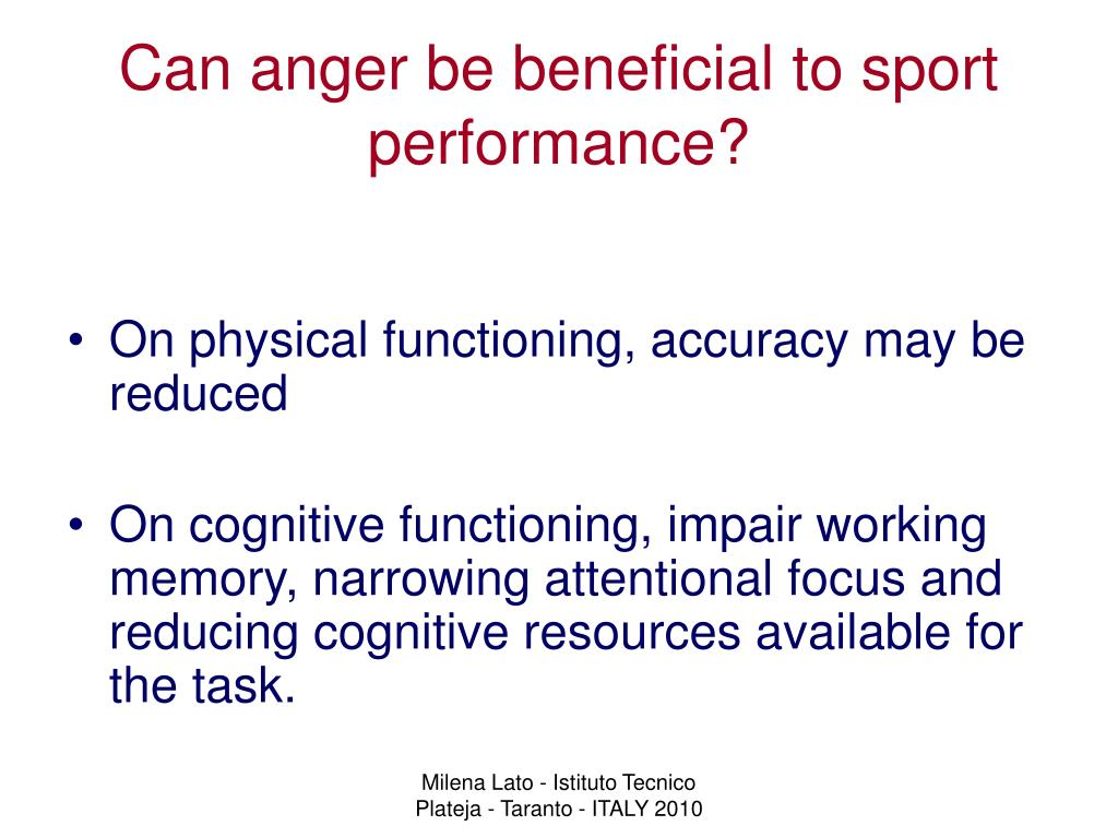 Can anger be beneficial to sport performance?