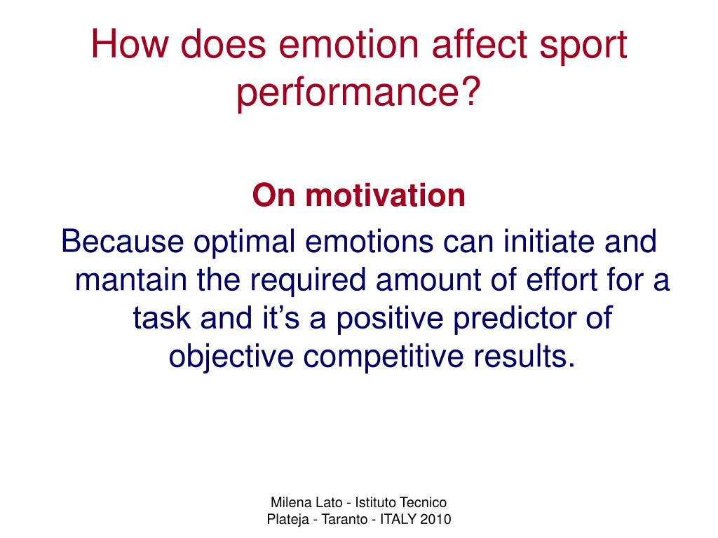 How does emotion affect sport performance?