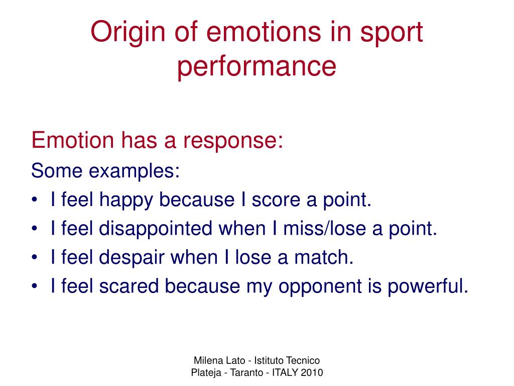 Origin of emotions in sport performance