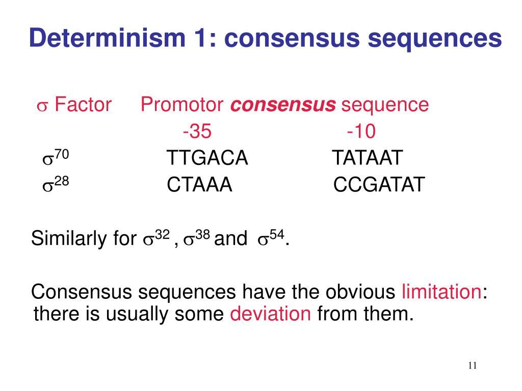 Determinism 1: consensus sequences