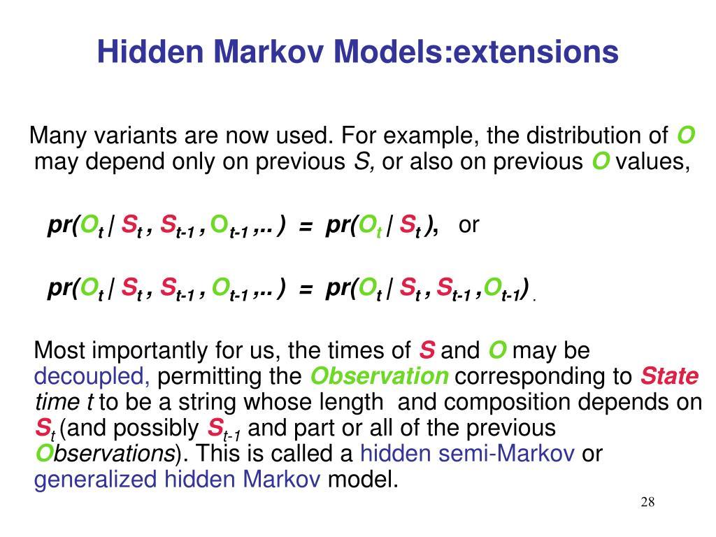 Hidden Markov Models:extensions