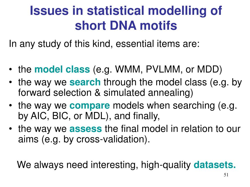 Issues in statistical modelling of