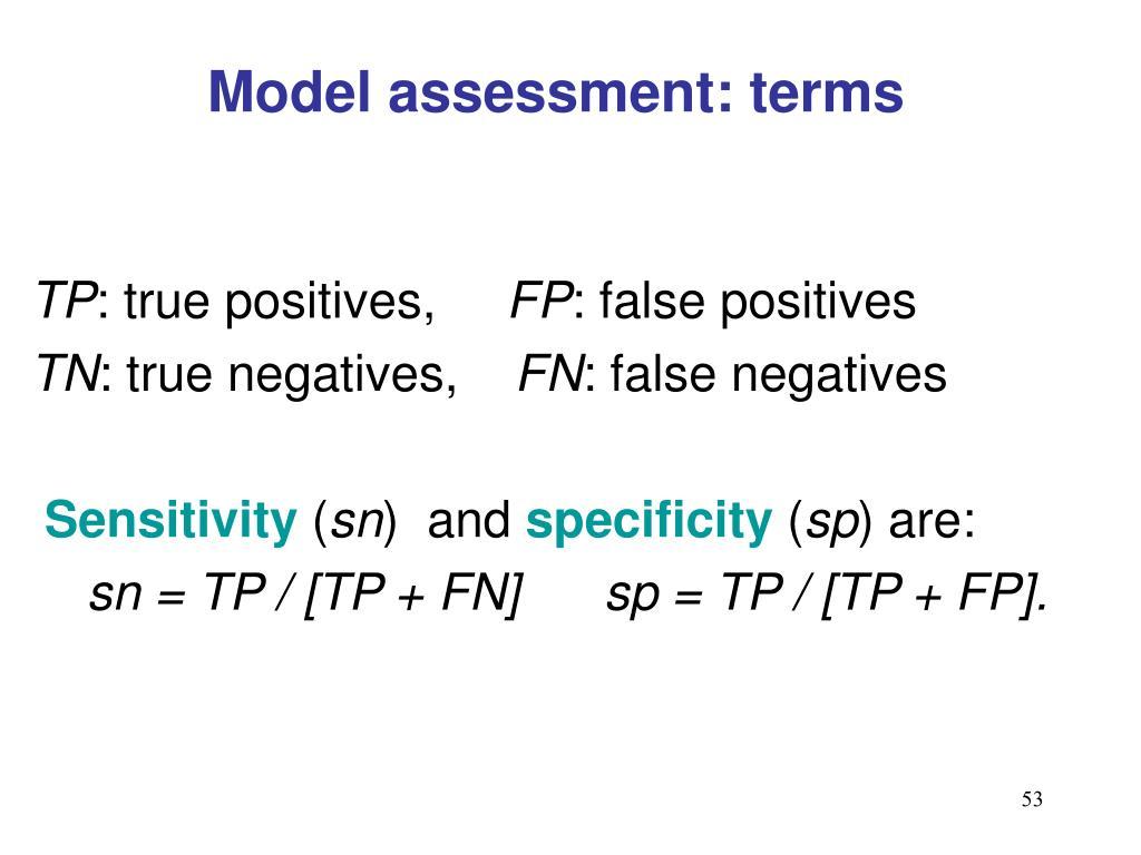 Model assessment: terms