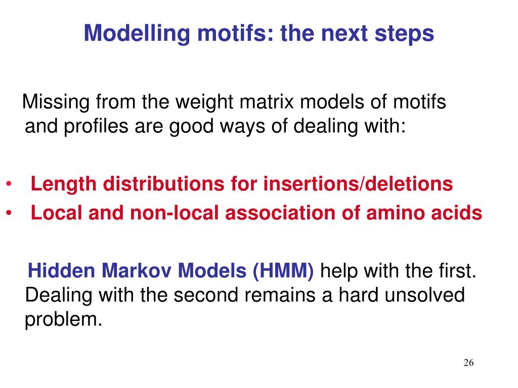 Modelling motifs: the next steps