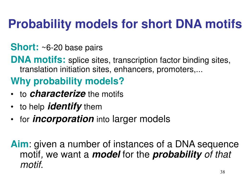 Probability models for short DNA motifs