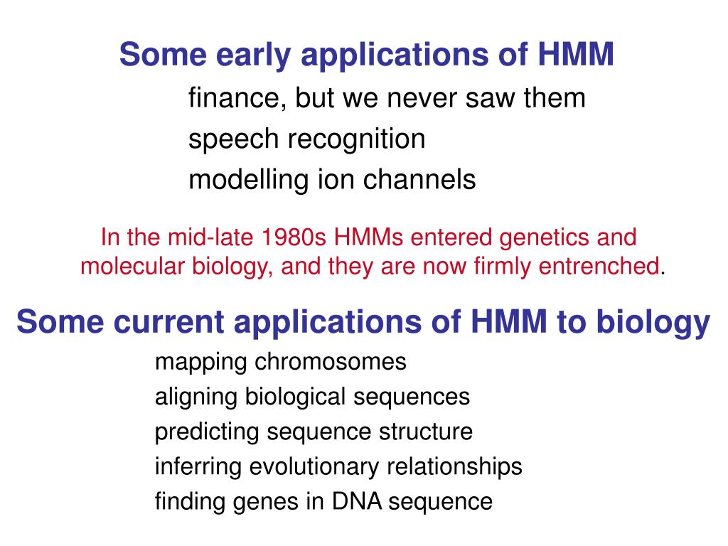 Some current applications of HMM to biology