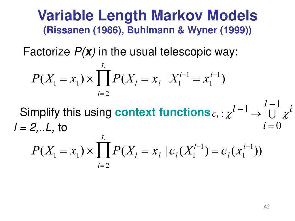 Variable Length Markov Models