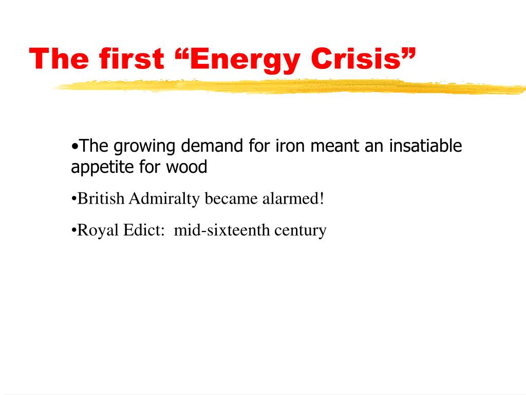 "The first ""Energy Crisis"""