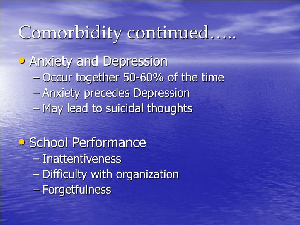 Comorbidity continued…..