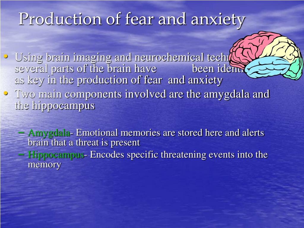 Production of fear and anxiety