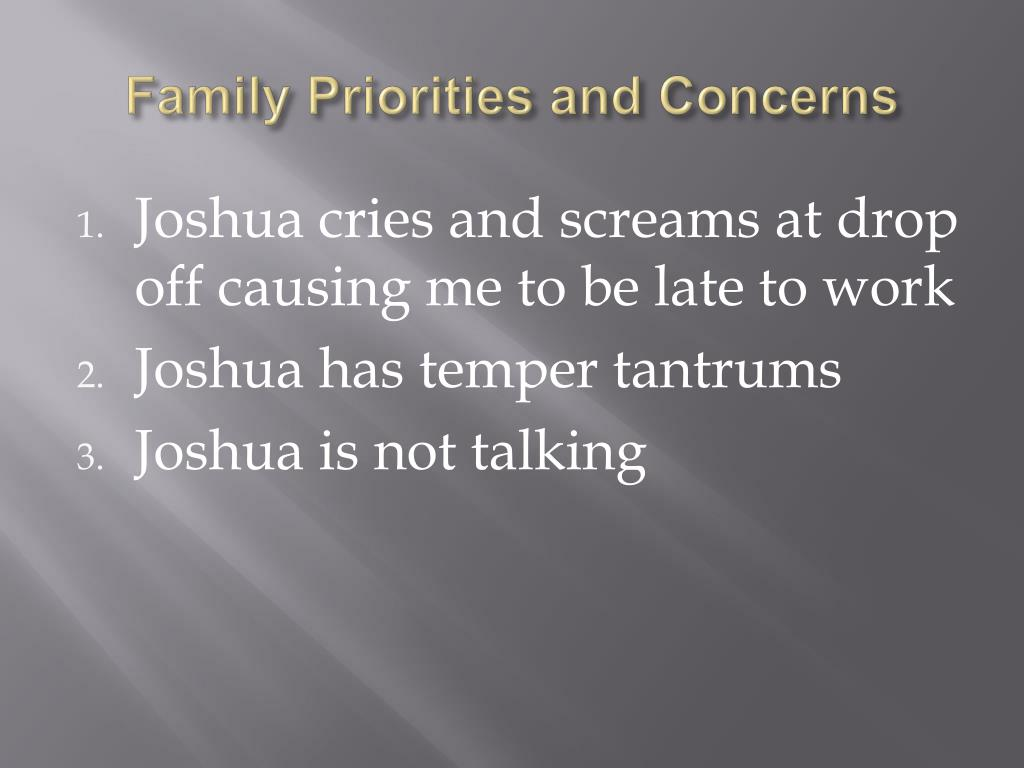 Family Priorities and Concerns