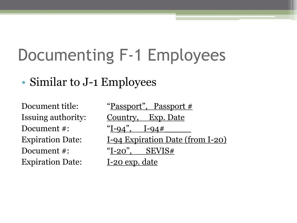 Documenting F-1 Employees