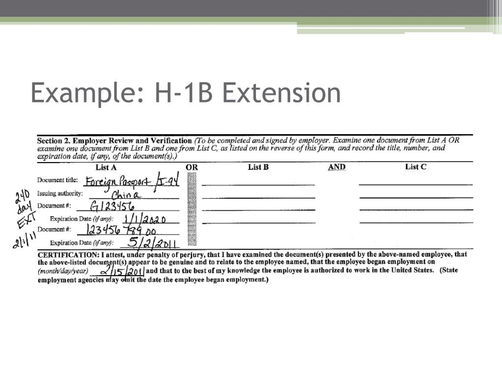 Example: H-1B Extension