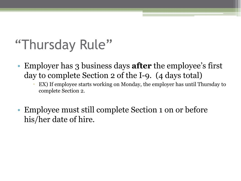 """Thursday Rule"""