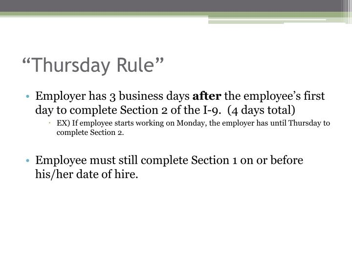 Thursday rule
