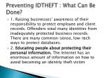 preventing idtheft what can be done